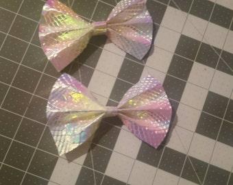 Iridescent hair bows