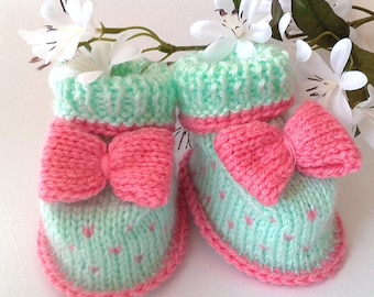 Mint Pink Baby Booties, Knitted Baby Booties, Baby Girl Booties, Soft Knitted Baby Booties, Knitted Baby Clothes, Infant Girl Crib Shoes