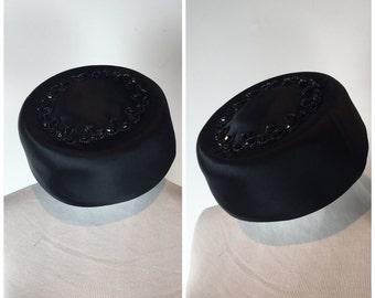 Vintage I. Magnin Black Beaded Pillbox C686