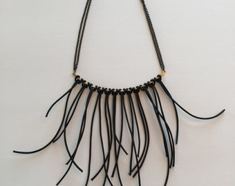 Leather and Brass Fringe Necklace