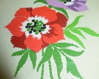 West Germany Flowers Embroidery Kit ESH Gutezeichen fur schone handarbeiten, Made in West Germany