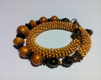 Bracelets are crocheted on a line basis, from Czech beads and Czech glass beads