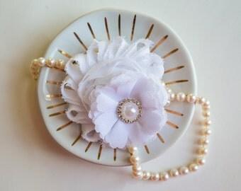 White Hair Clip, Easter Hair Clip, Flower Girl Hair Clip, White, Wedding Hair Clip, Toddler Girls, Girls, White Flower Girl, Shabby White