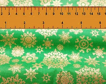 Christmas Quilting Fabric - Metallic Gold Snowflakes on Light Green - Fat Quarter or Yardage