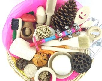 Large Treasure Basket -  Montessori Waldorf Inspired Wooden Toddler Gift