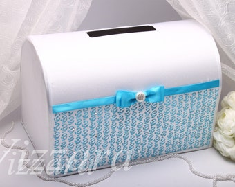 Wedding card box Aqua blue - HAND-Painted- Wedding money box Envelope box Wedding box Wedding money box Personalized wedding box Card holder