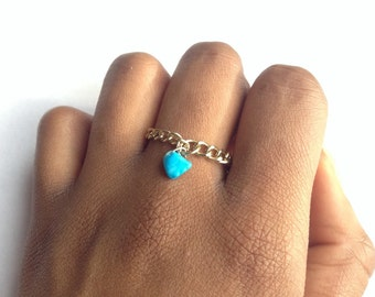 Turquoise ring gold chip bead handmade - blue ring gold - turquoise gold ring - blue crystal chip gold  - ring gold chain ring