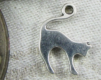 Set of (12) Silver Cat Silhouette Charms 12 per package  ANM043
