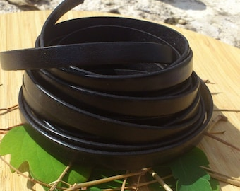 Leather flat black high quality 10mm by 20cm
