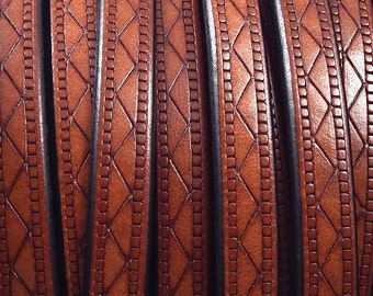 Flat leather camel 8mm etched design by 1 meter