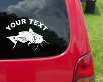 Set (2 Pieces) Catfish  Sticker Decals with custom text 20 Colors To Choose From.  U.S.A Free Shipping