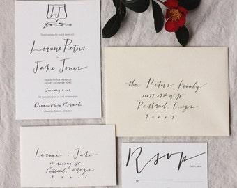 Custom Calligraphy Wedding Invitation - Portland - RSVP, Accommodations and Invitation