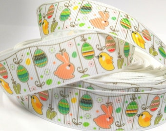 7/8 inch - EASTER - Bunny and Birdie  Printed Grosgrain Ribbon for Hair Bow