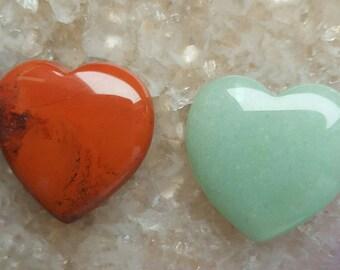 Wedding Favours Green Aventurine and Red Jasper  Loveheart heart tumblestone