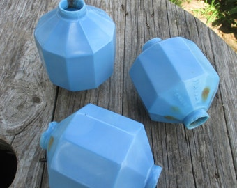 3 D&S Glass Lightning Rod Balls Paneled Blue Vintage Weather Vane Farm Barn n