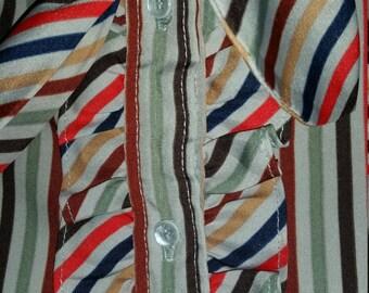 Multi colored stripe blouse w/ neck tie
