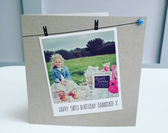 Handmade Personalised Card, Birthday, Polaroid Photograph, Recycled Kraft or Grey Card