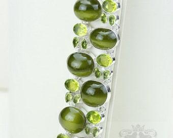 Blast of Green! Nephrite Jade Peridot 925 S0LID Sterling Silver Bracelet & FREE Worldwide Express Shipping B1866