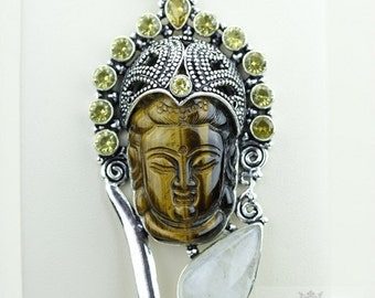 One of A Kind! Kwan Yin Guanyin BUDDHA Goddess Face Moon Face 925 S0LID Sterling Silver Pendant + 4MM Chain & Free Shipping p3752