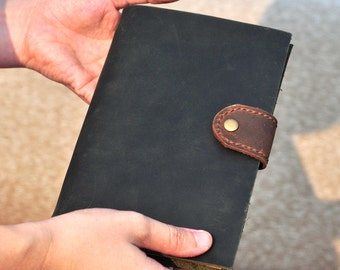 Handmade Unique Leather Journal Diary  Blank Craft Paper (Free stamp)
