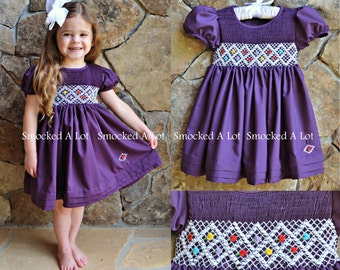 Smocked A Lot Girls Dress Amethyst Purple Fall Flowers Birthday Vintage Boutique