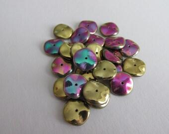 Ripple California Czech Glass Beads - 12mm - Greens Purples - 25 Pieces