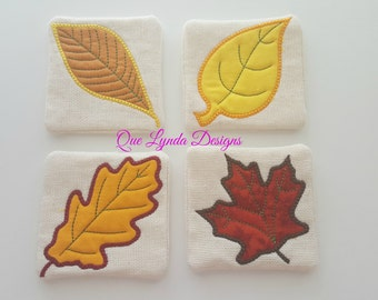 Fall Leaves Applique Coasters - Set of 4