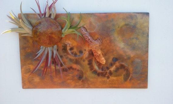 Metal Wall Art Copper Eagle & Sun 12 7/8 X 7 3/4 inch