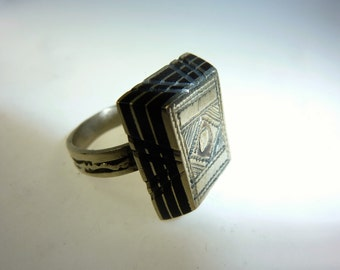 Tuareg Ring made of Silver and Ebony, US Size 7