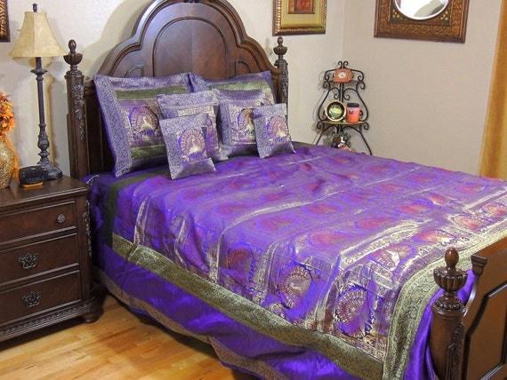 Dancing Peacock Brocade Bedding Set Purple And Gold Luxury