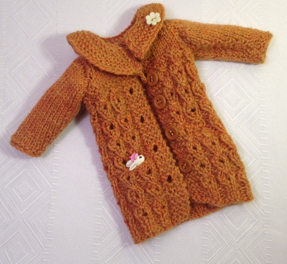 Knitting Patterns For 13 Inch Dolls : knitting pattern (pdf file) for Faux Cabled coat for 13 ...
