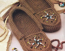 Crochet Moccasins Beaded Slippers Navajo Indian PATTERN -  PDF Download