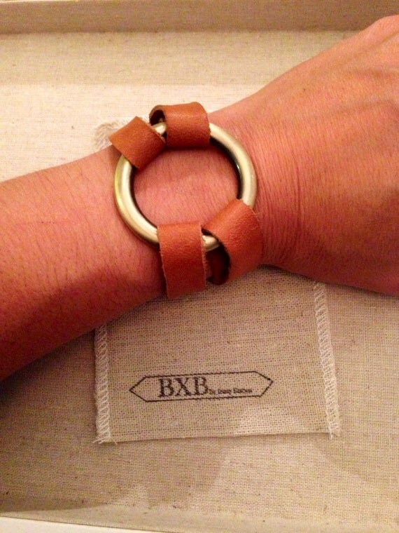 split leather bracelet with heavy ring