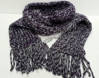 Knit Scarf mixed purple/Winter Scarf/Knitted Scarf