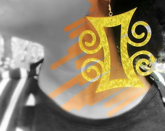 Gold glitter Adinkra earrings, Afrocentric Jewelry,  Dat Jam clothing