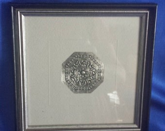 Framed Silver Sheet with Embossed Rose Pattern