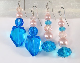 Bright blue and turquoise blue long earrings with crystal and pink pearl accents, 2 pair  #1165E