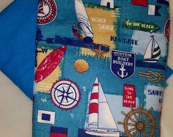 Large sailboat receiving/swaddle blanket