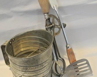 Vintage Wood Handle Kitchen Tools, Rustic Kitchen Decor, Retro Farmhouse,  Country Kitchen Tools, Primitive Kitchen.