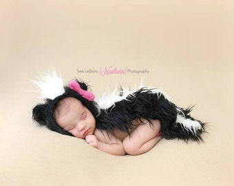 Newborn Props - Little Skunk Bonnet and Tail Set - Newborn Skunk Hat - Baby Animal Props - Woodland Theme Skunk Prop - Skunk Hat and Tail