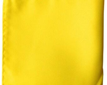 "Yellow Solid 10"" x 10"" Pocket Square Handkerchief Hankie"