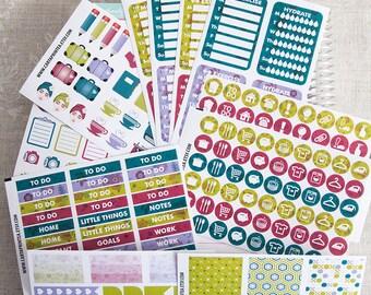 LAGUNA 241 functional planner stickers kit, floral set, daily chore header full box checklist eclp filofax happy planner kikkik