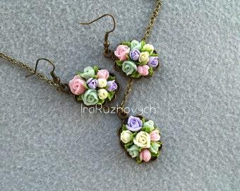 Polymer Clay Jewelry , Handmade Flowers Set