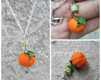 Pumpkin pendant, Halloween nacklece