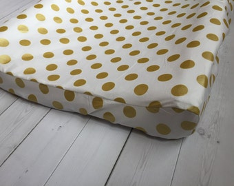 White and Gold Changing Pad Cover - Polka Dot - Baby Bedding - Nursery - Gold Dots - Trendy - Gender Neutral - White Baby Bedding