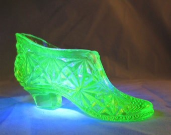 Vintage Vaseline Glass Shoe