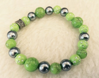 Lime green and gray bracelet