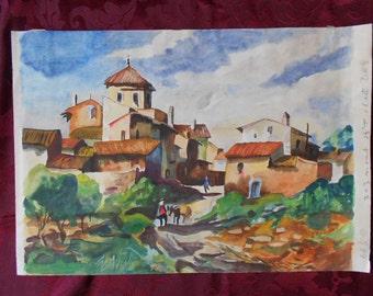 Mediteranean Town Scene Watercolor