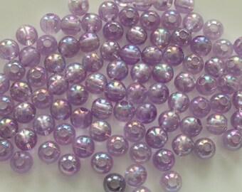 Beads, Violet Translucent AB, Acrylic, 8mm Round, 40g