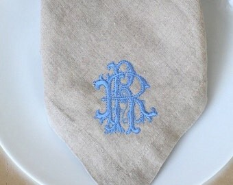 Monogrammed Linen Dinner Napkins with Embroidered Monogram - 100% Linen - Thanksgiving Holiday Dinner Napkins - Many Colors and Styles